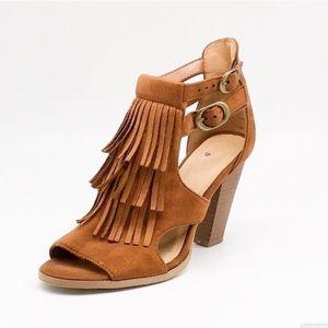 DV by Dolce Vita Cognac Fringe Block Heel Sandals